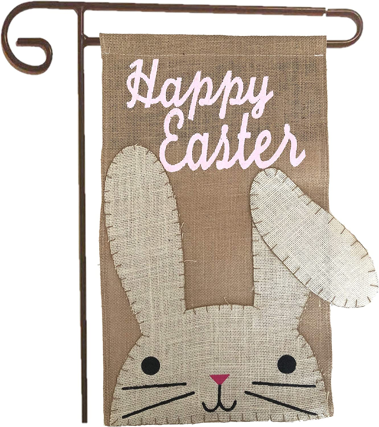 """Partay Shenanigans Easter Garden Flag - 12"""" x 21"""" Happy Easter Burlap Rustic Yard Flag for Outdoor Spring Home Garden Decoration (Pole not Included)"""