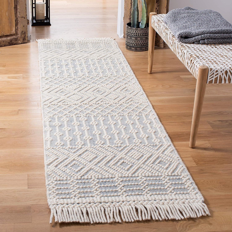 Amazon Com Safavieh Natura Collection Nat852a Handmade Moroccan Boho Fringe Wool Runner 2 3 X 8 Ivory Grey Furniture Decor