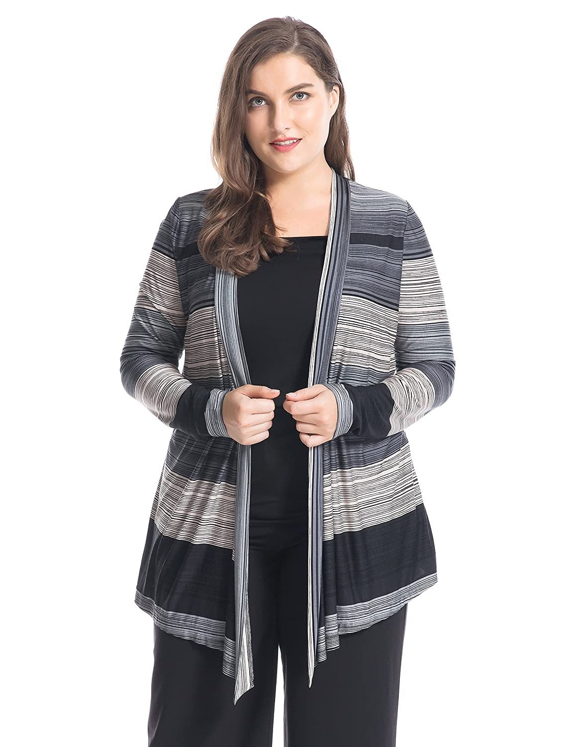 bc8fbd85961d5 Amazon.com  Chicwe Women s Plus Size Stripe Printed Twofer Top - Waterfall  Front Casual and Work Blouse M Black Grey  Clothing