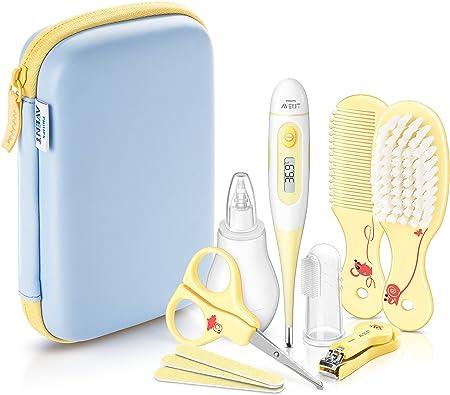 Incluye un termómetro digital, un aspirador nasal, un cepillo de dientes dedal y un kit para el cuid