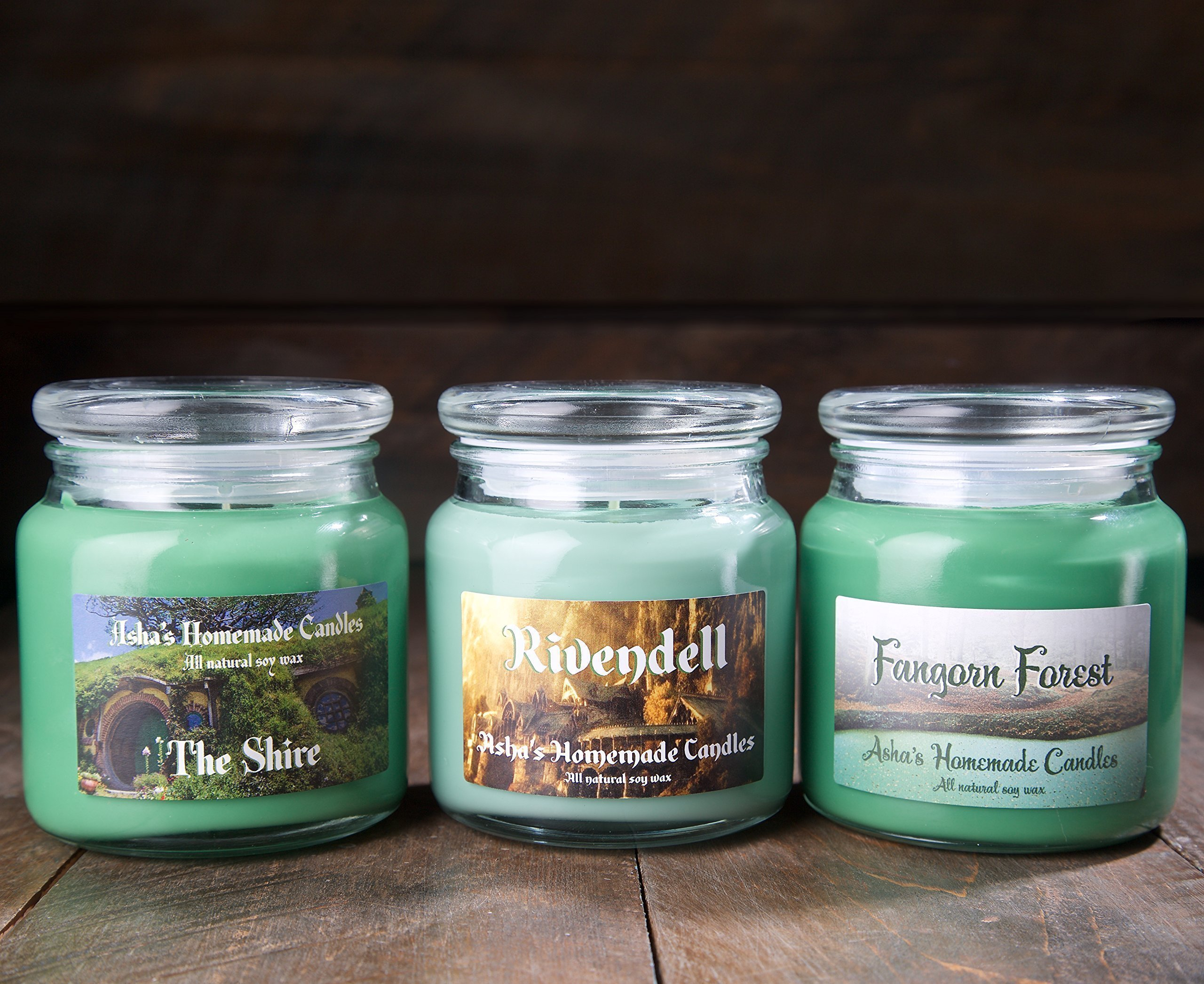 Lord of the Rings Soy Candles - Set of 3 - Shire - Rivendell - Fangorn Forest - 16 oz. Apothecary Jars
