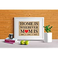 Home is where mom is personalised sign, gift from kids, gift for Mom, Burlap gifts (Frame not included)
