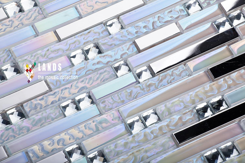 White Glass Silver Mirror Stainless Steel Blends kitchen backsplash ...