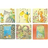 Cimostar Creative Wooden Coasters, Artistic Design ,Set of 6 (Lovely cat)