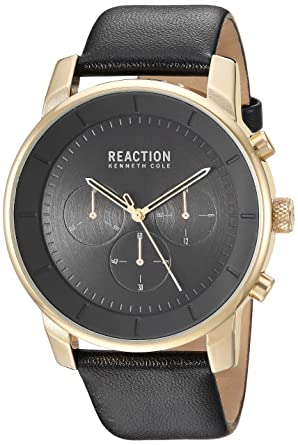 0679f5879 Kenneth Cole REACTION Men's Stainless Steel Analog-Quartz Watch with  Leather-Synthetic Strap,