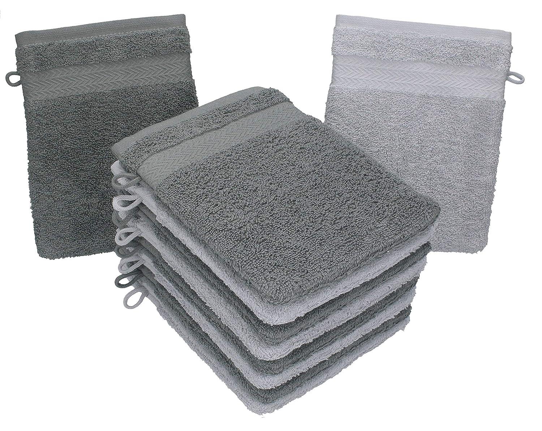 BETZ Set di 10 Guanti da Bagno Premium Misure 16 x 21 cm 100/% Cotone Grigio Antracite e Grigio Argento