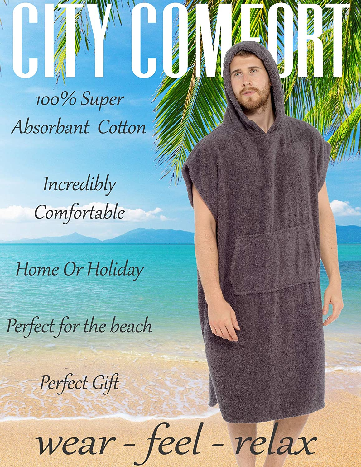 Swimming Bathing Travel Towel Unisex Hooded Towelling Poncho Surfing CityComfort Adults Hooded Towel Poncho Ideal for Holidays Beach 100/% Cotton Changing Robe with Pocket