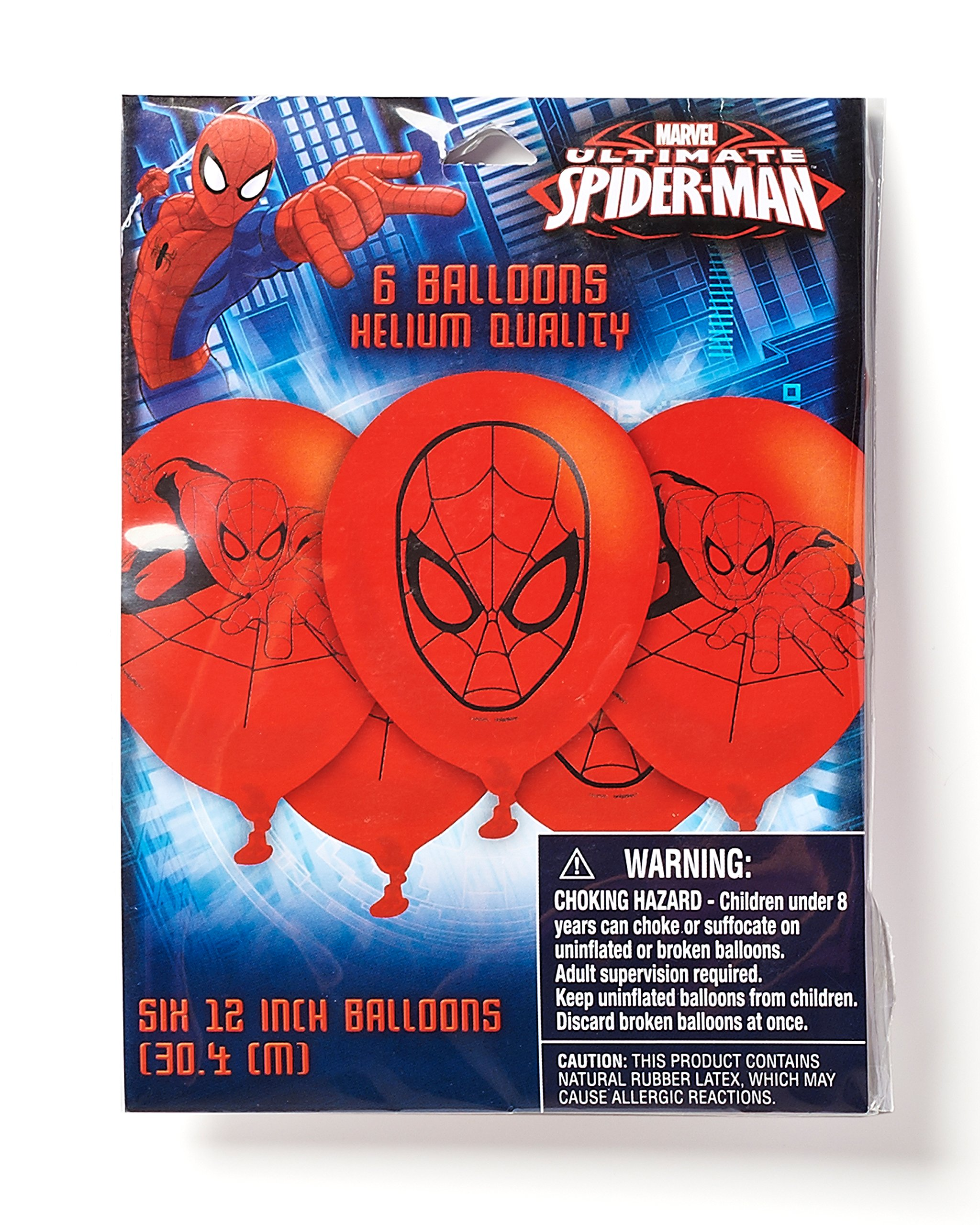 Spider-Man 12 in Balloons, 6 count, Party Supplies