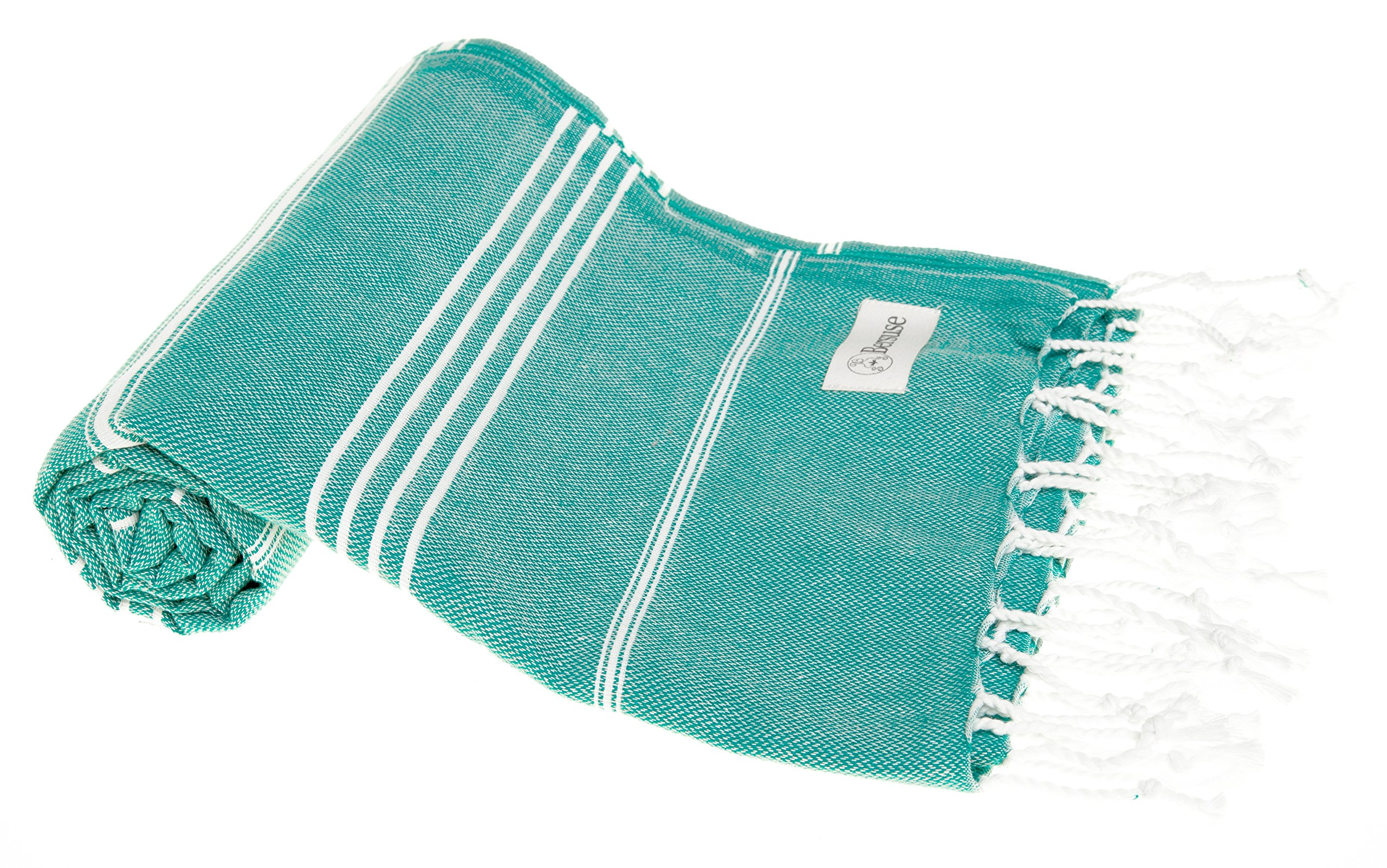 Bersuse 100% Cotton - Anatolia Turkish Towel - Bath Beach Fouta Peshtemal - Classic Striped Pestemal - 37X70 Inches, Teal