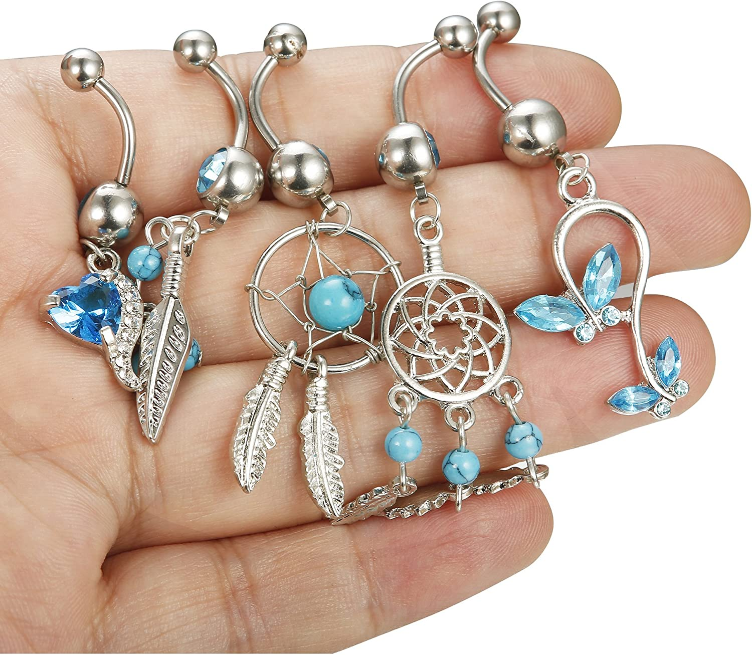 Fiasaso 925 Sterling Silver Belly Button Rings for Women Vintage Flower Navel Rings Belly Piercing