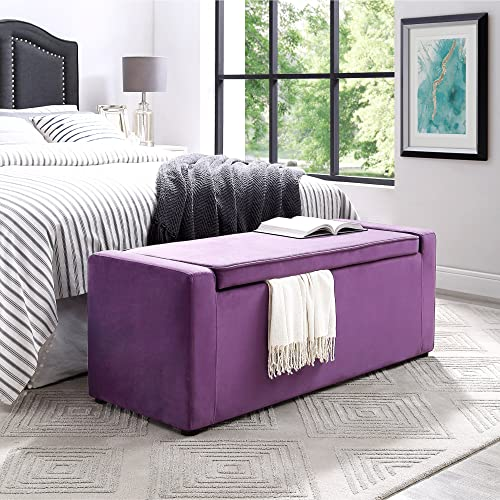 Fabroni Purple Velvet Storage Bench - Shoe Storage | Upholstered | Living Room, Entryway, Bedroom | Inspired Home