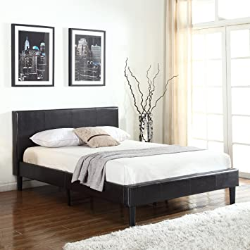 classic deluxe bonded leather low profile platform bed frame w paneled headboard design - Bed Frames With Headboard