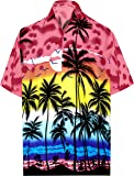 LA LEELA Hawaiian Shirt for Men Short Sleeve Front-Pocket Beach Palm Tree Blue