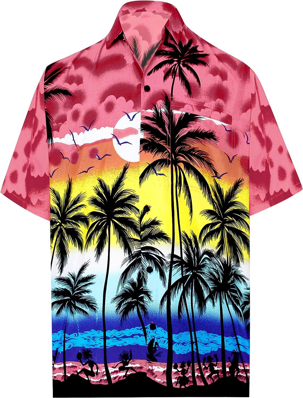 TALLA S - Pecho Contorno (in cms) : 96 - 101. LA LEELA | Funky Camisa Hawaiana | Señores | XS-7XL | Manga Corta | Bolsillo Delantero | impresión De Hawaii | Playa Playa Fiestas, Verano y Vacaciones 999