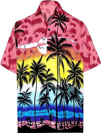 "6ce0069a LA LEELA Likre Men's Hawaiian Shirt Bright Red 325 X-Small | Chest 36"""