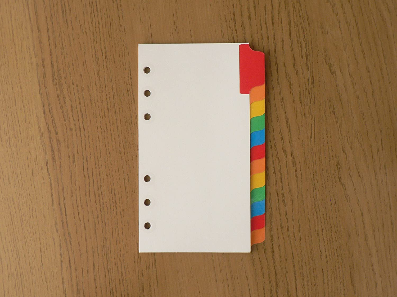131624 Gift Filofax Personal Blank Index White With Multi-Coloured Label Refil
