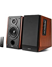Edifier R1700BT Bookshelf Active Speakers with Bluetooth, RCA/AUX Input, EQ Control and Remote Control - Brown