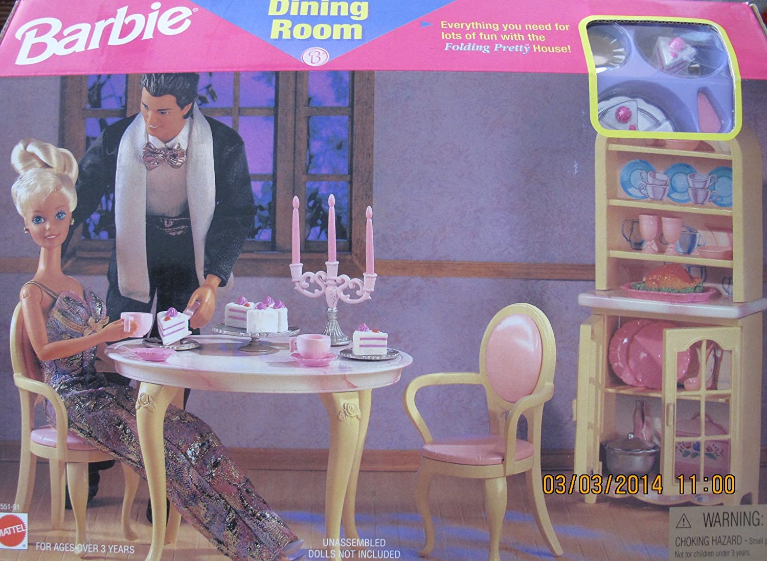 Barbie DINING ROOM PLAYSET Can Be Used w FOLDING PRETTY HOUSE (1996 Arcotoys, Mattel)