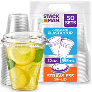 Stack Man 12 oz. Clear Cups with Strawless Sip-Lids, [50 Sets] PET Crystal Clear Disposable 12oz Plastic Cups with Lids