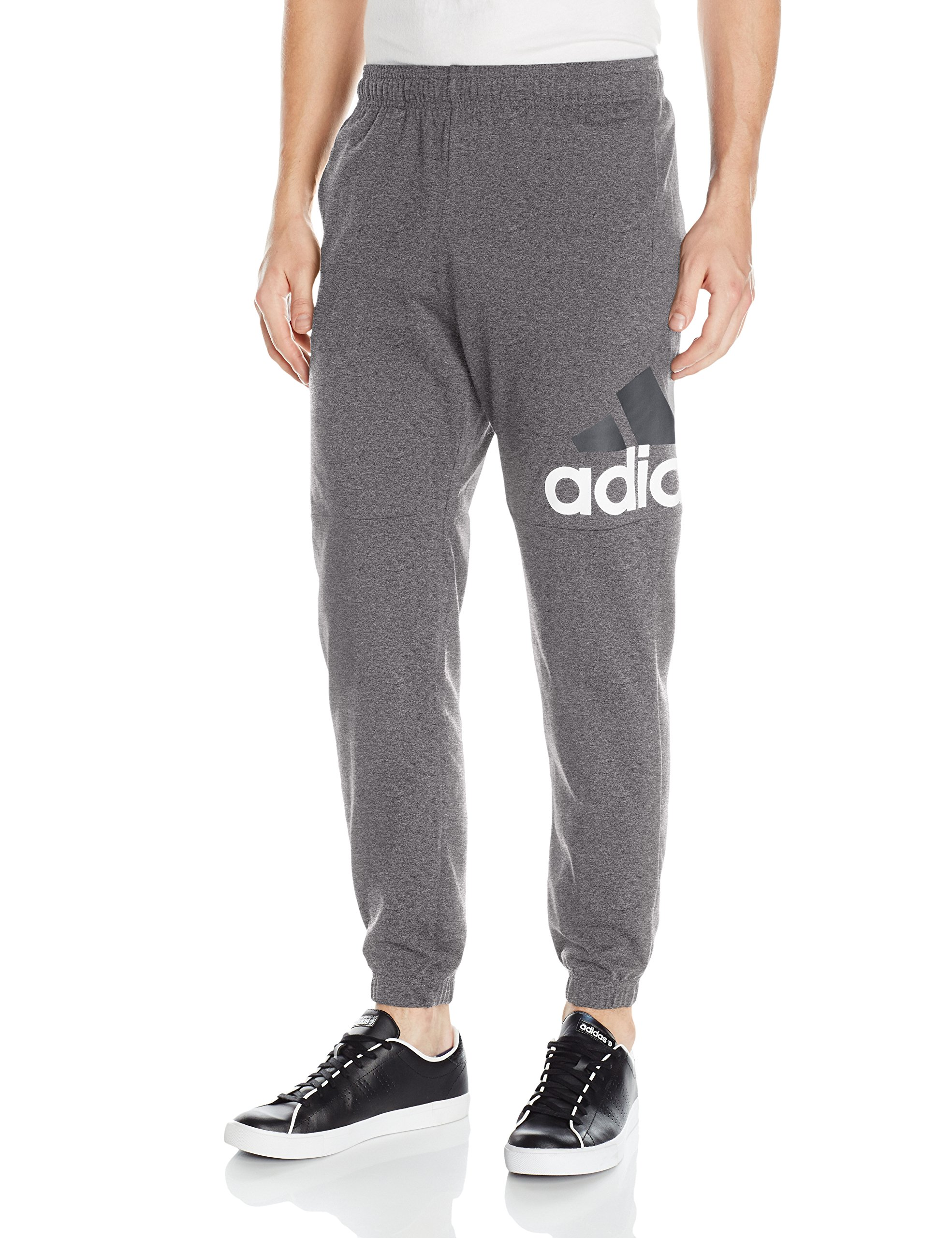 huge discount 0e9b1 a4847 Galleon - Adidas Men s Essentials Performance Logo Pants, Dark Grey Heather  White, Small