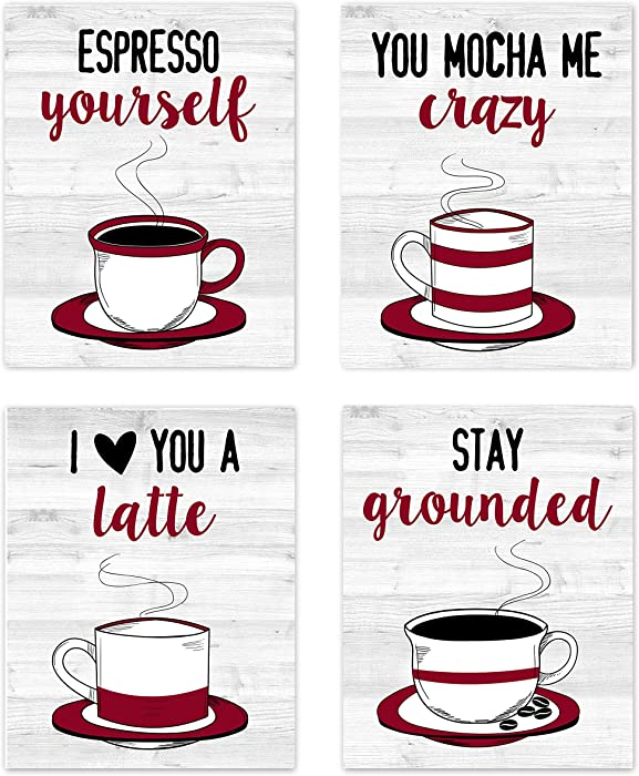 Vintage Kitchen Wall Art Coffee Funny Puns Sayings Prints Posters Signs for Modern Farmhouse Country Home and Dining Room Decor – Coffee Mugs Tea (Set of 4) Unframed 8 x 10 inches Red Black Grey & White