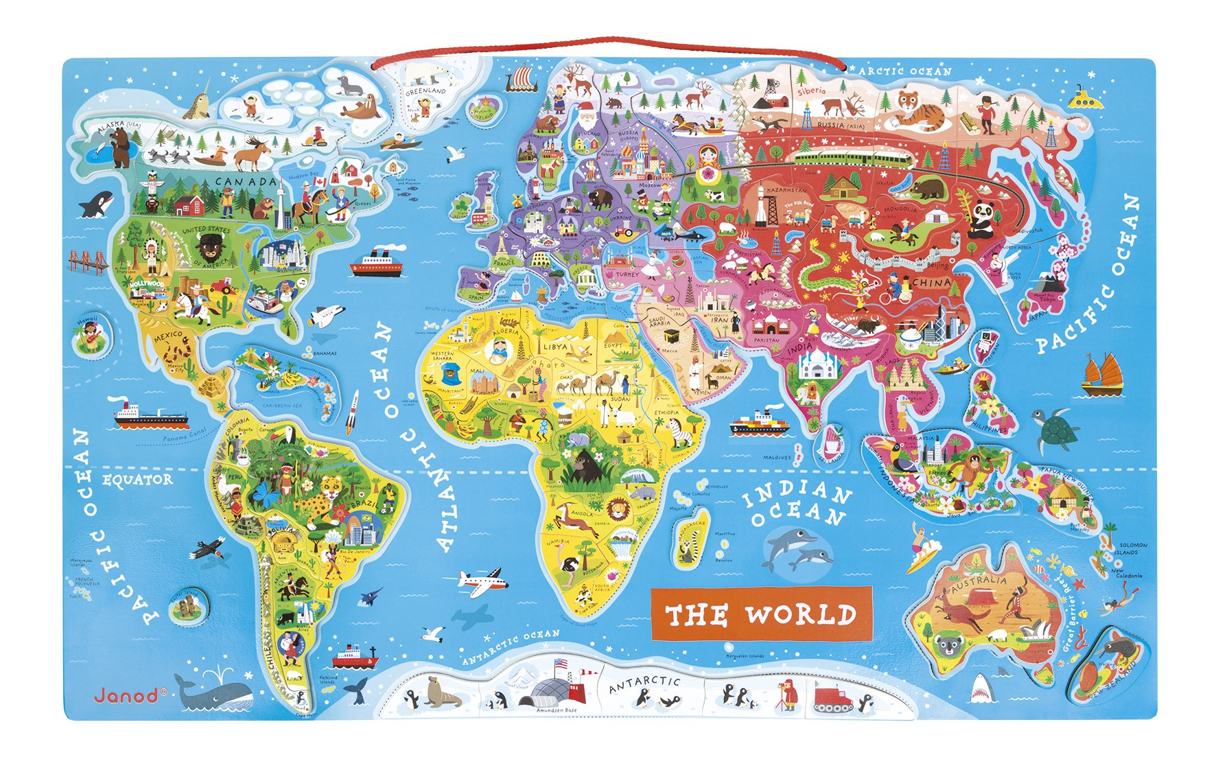 Janod Magnetic World Puzzle English Edition by Janod