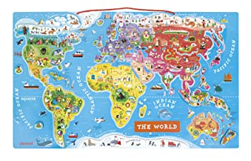 Buy Janod Magnetic World Puzzle English Edition Multi Color - Map wold