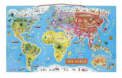 Amazon.com: Janod Magnetic World Puzzle English Edition: Toys & Games