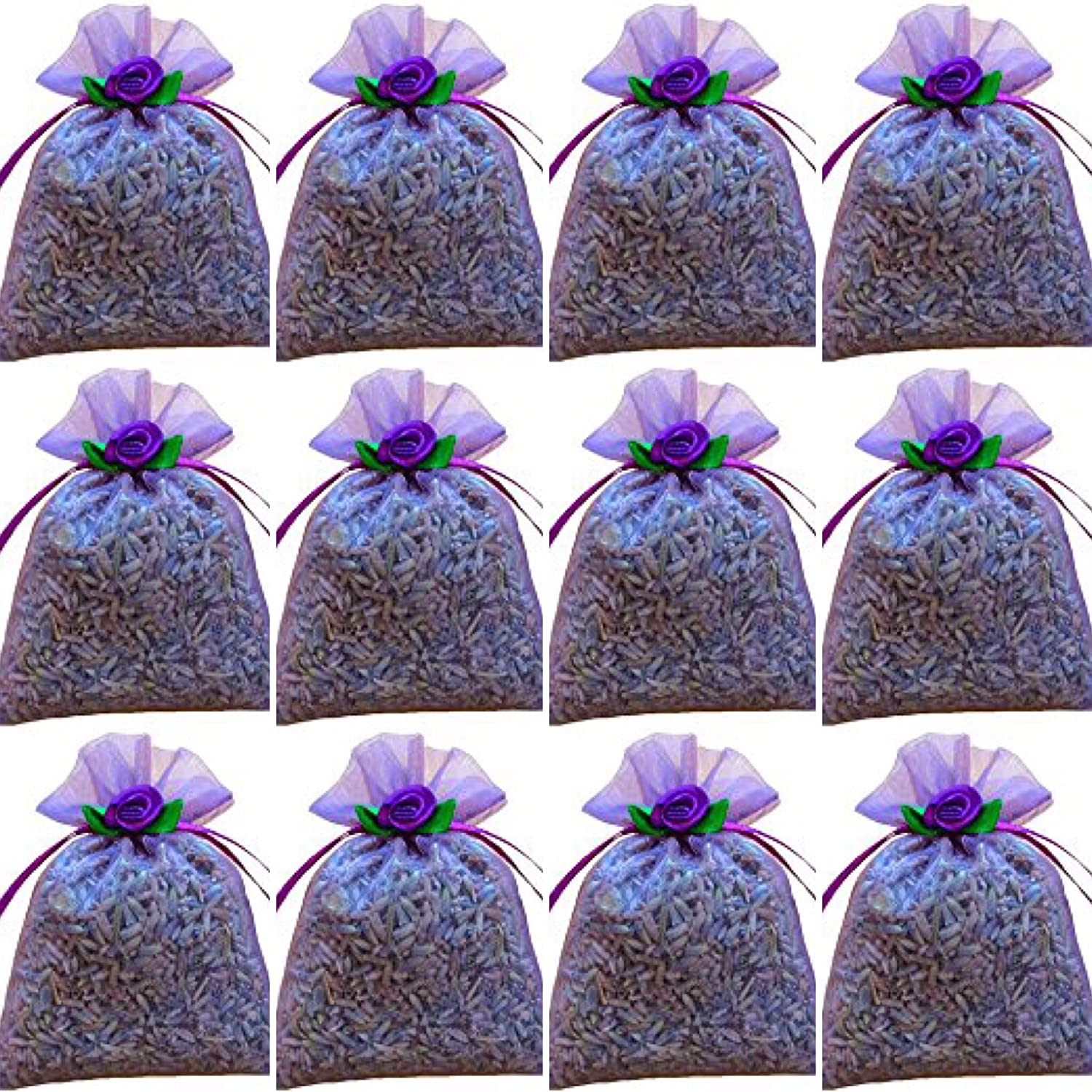 Zziggysgal 12-pack 3' x 3' Organza French Lavender Filled Sachets lavender FBA_AutumnLavie