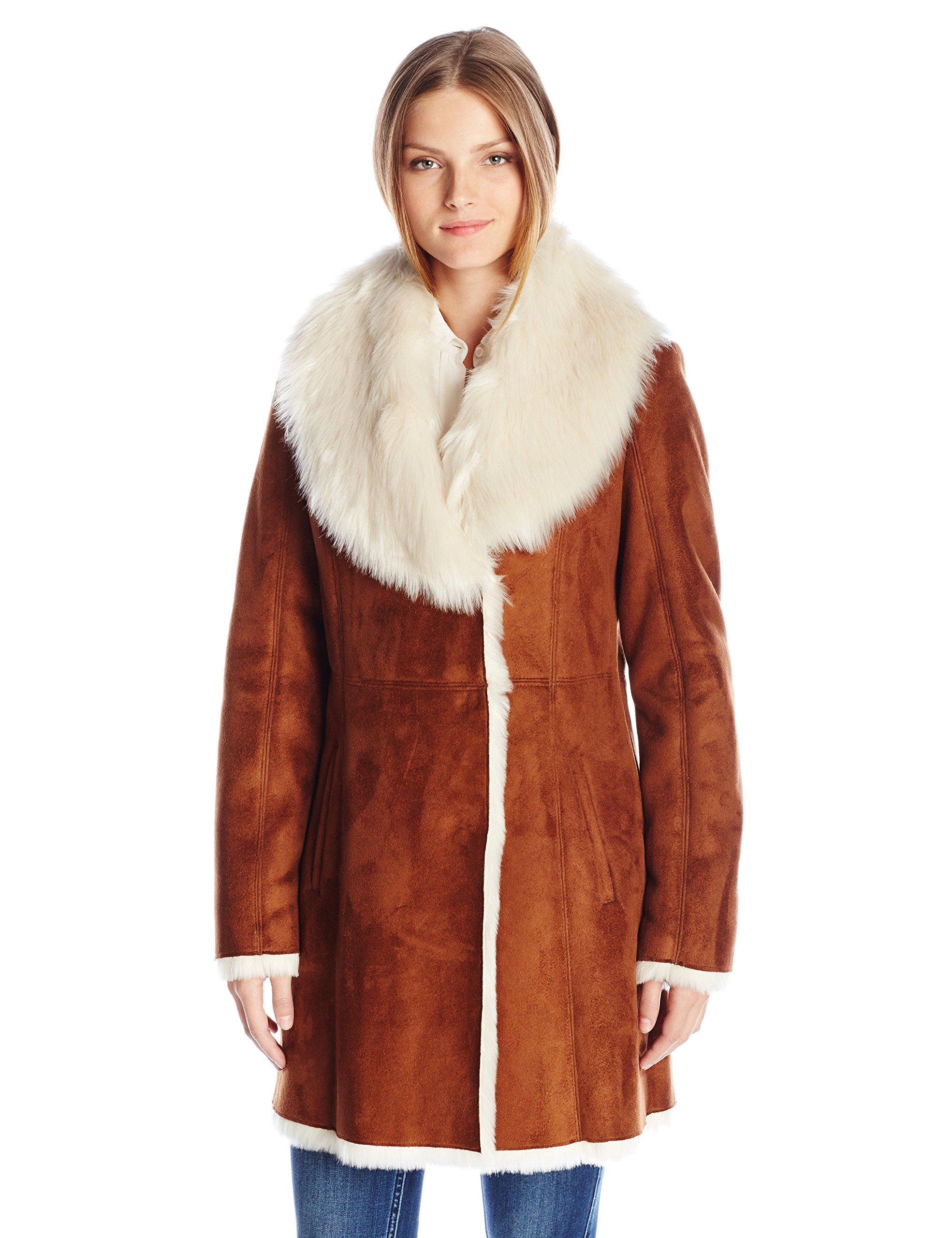 Marc New York by Andrew Marc Women's Sarah 3/4 Length Coat with Faux Fur Collar, Whiskey Cream, L by Marc New York by Andrew Marc