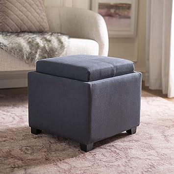 Prime Safavieh Hudson Collection Harrison Grey Linen Single Tray Ottoman Bralicious Painted Fabric Chair Ideas Braliciousco