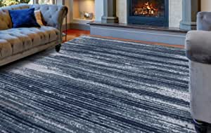 Diagona Modern Stripes 8x10 Area Rug 92 W X 116 L Teal Navy Gray Furniture Decor Amazon Com