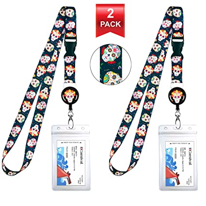431667b77b74 Sugar Skull Day of The Dead Cruise Lanyard & Waterproof ID Key Card Holder  Clip.