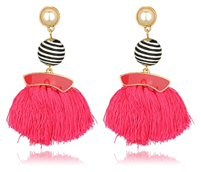 ed3dfe092 Buy Accessorisingg Statement Dark Pink and Black Fringe Tassel Earrings for  Parties/Weddings [ER068] Online at Low Prices in India | Amazon Jewellery  Store ...