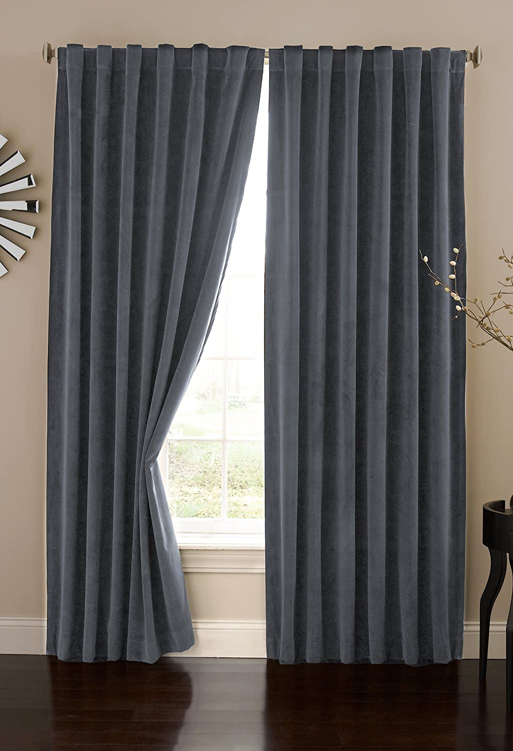 Absolute Zero Velvet Blackout Home Theater Curtain Panel 84 Inch Stone Blue Amazoncouk Kitchen