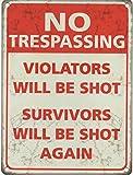 No Trespassing Nostalgic Vintage Retro Advertising Enamel Metal Tin Sign Wall Plaques 200mm x 150mm by Original Metal Sign Co