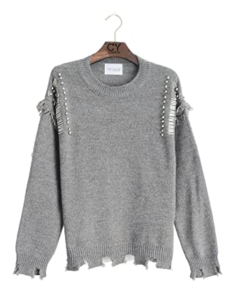 60b104a3d98 Lady pearl embellished sleeves laddered design knitted jumper top   Amazon.co.uk  Clothing