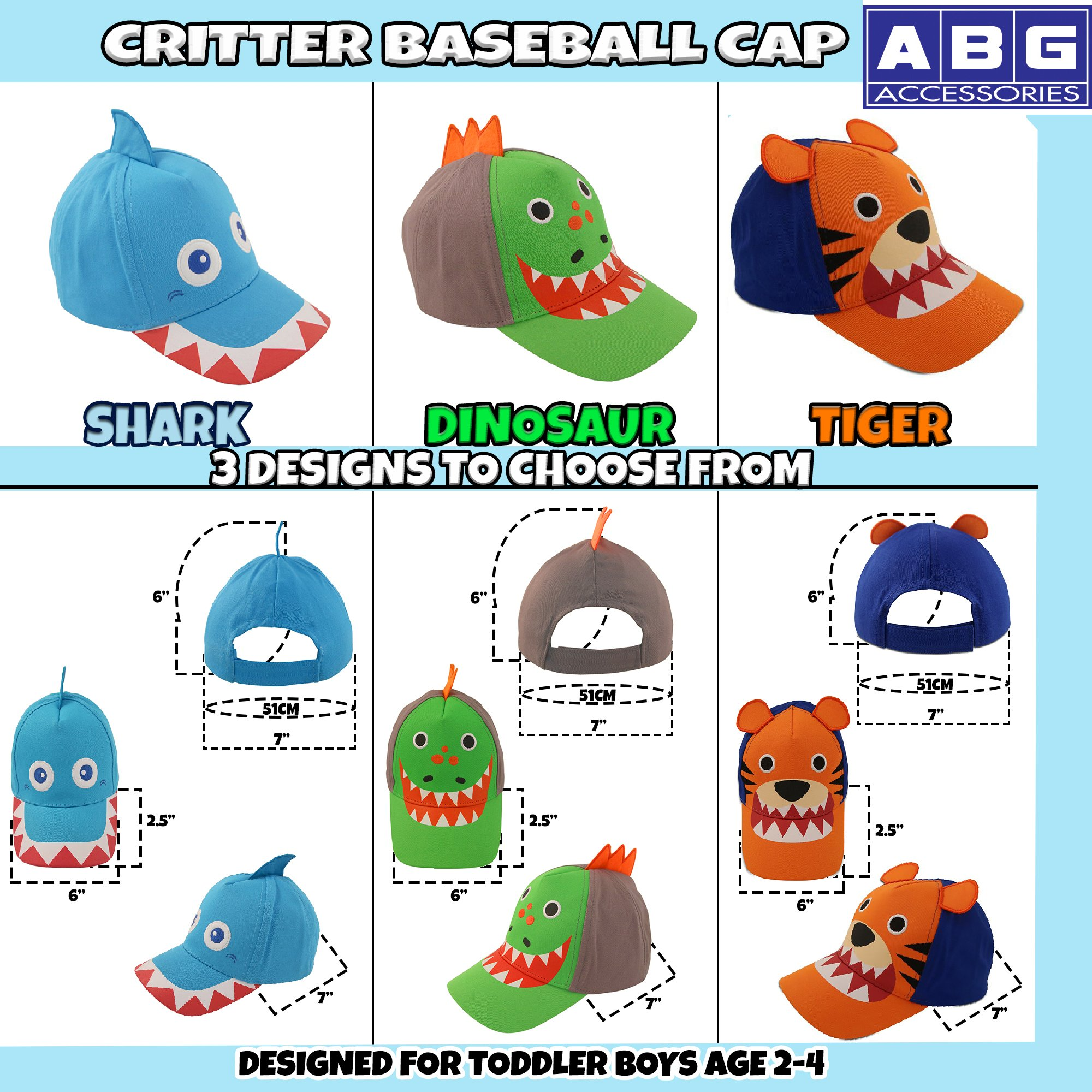 ABG Accessories Toddler Boys Cotton Baseball Cap with Assorted Animal Critter Designs, Age 2-4 (Dinosaur Design – Green/Grey) by ABG Accessories (Image #3)