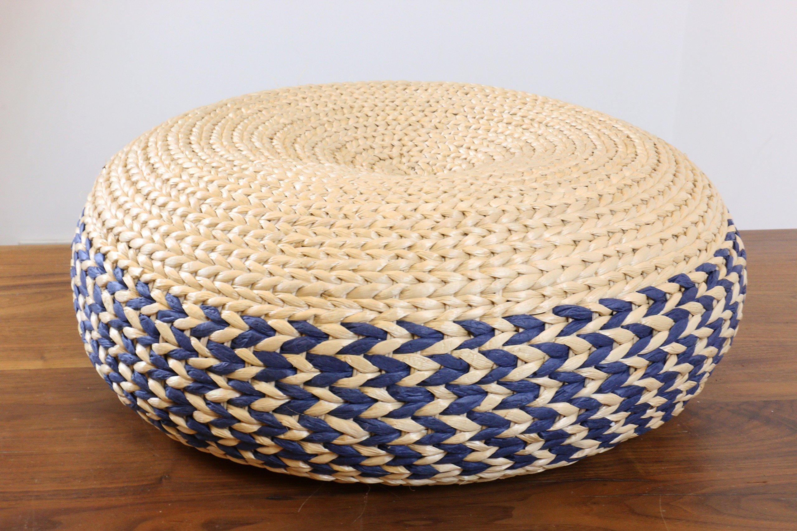 Double colored straw rustic poof/Floor cushion/Pouf ottoman/Wholesales bulk/Yoga/meditation cushion/ wedding gift/Country decor