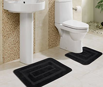 Saral Home Microfiber Anti Slip Bath Mat with Contour - Black (40x60cm)