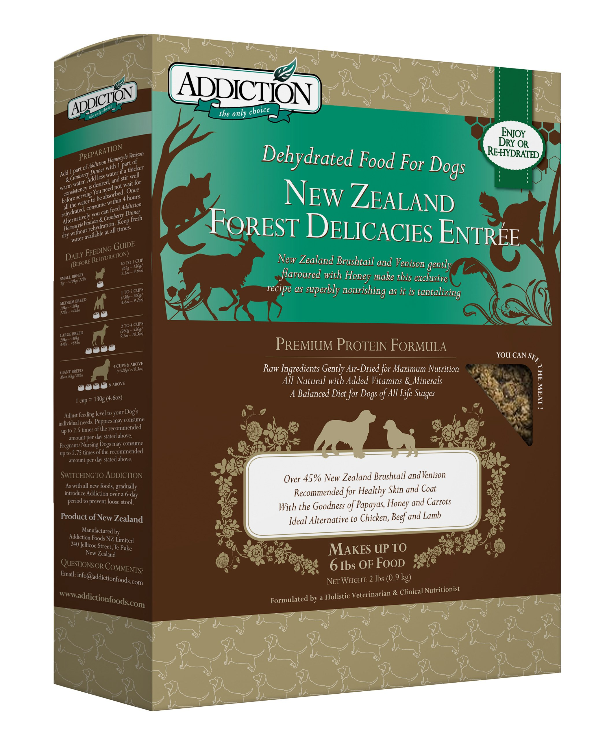 Addiction New Zealand Forest Delicacies Filler Free Dehydrated Dog Food, 2 Lb. by Addiction Pet Foods