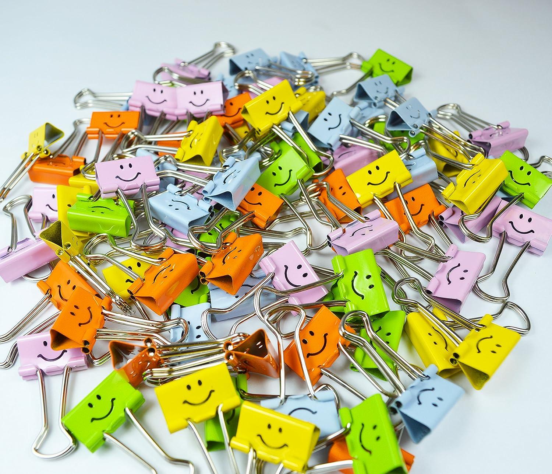 80 Klammern Rapesco 1428 19mm Smile Foldback Befestigungsclips Verschiedene Farben