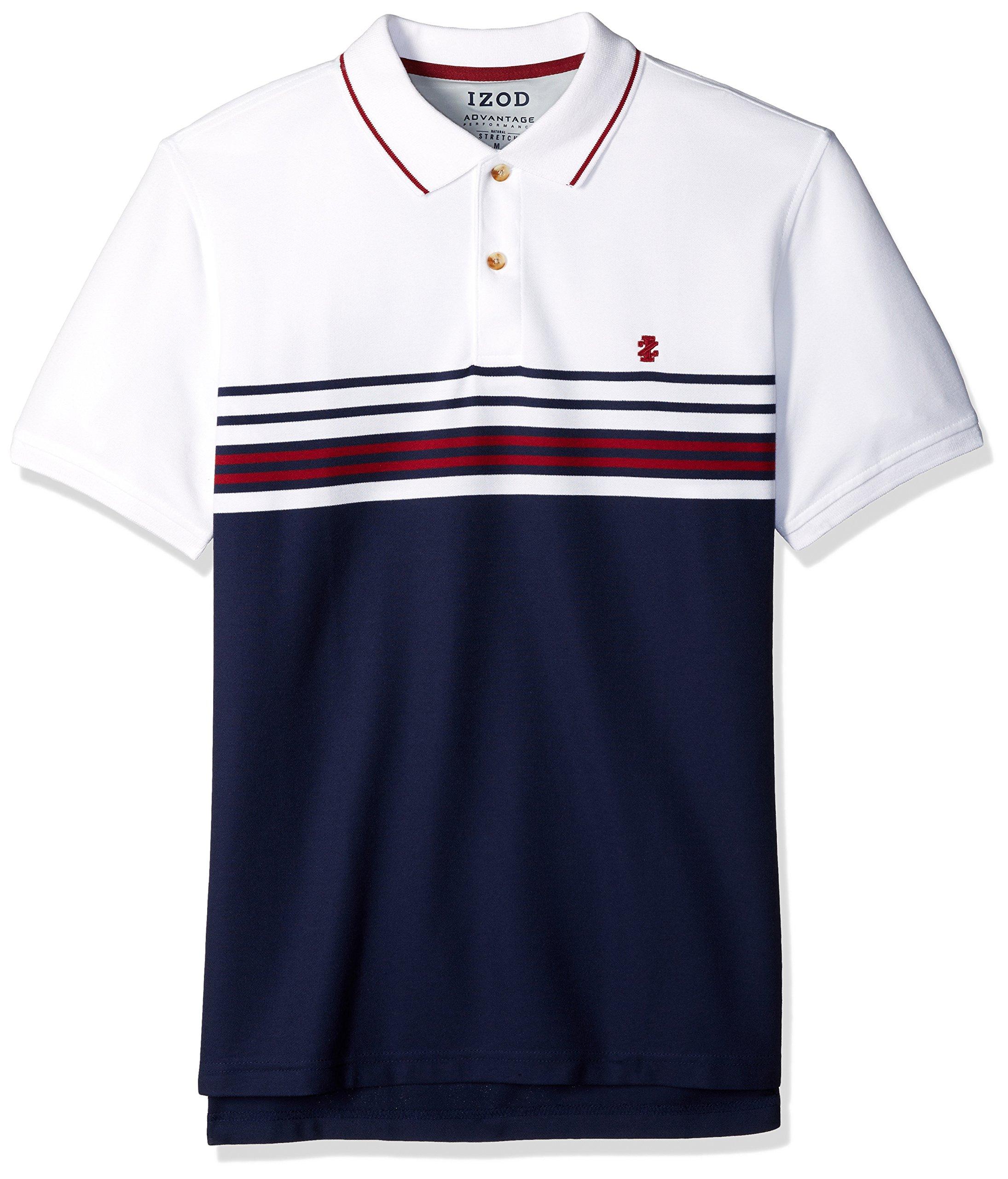 IZOD Men's Advantage Performance Stripe Polo (Regular Slim Fit), Clean Peacoat, Large