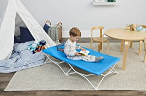 Regalo My Cot Pals Portable Toddler Bed - Raccoon, Blue, Small Single