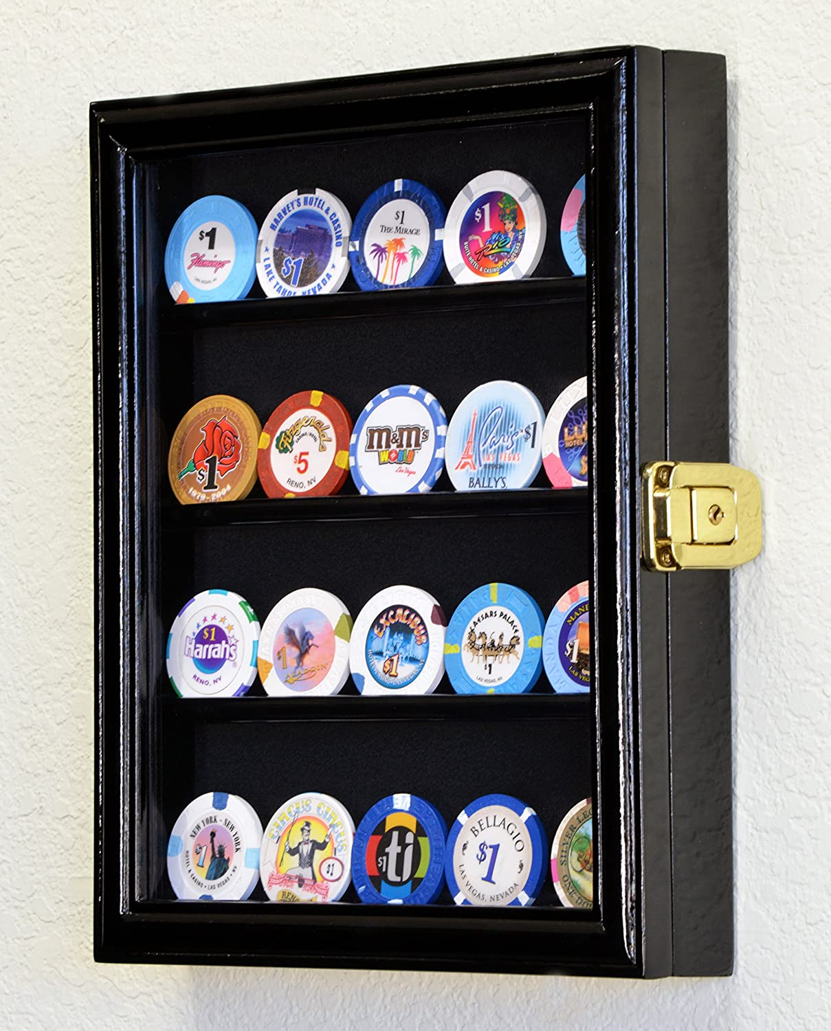 XS Military Challenge Coin Display Case Cabinet Holder Rack Box w UV Protection -Black Finish