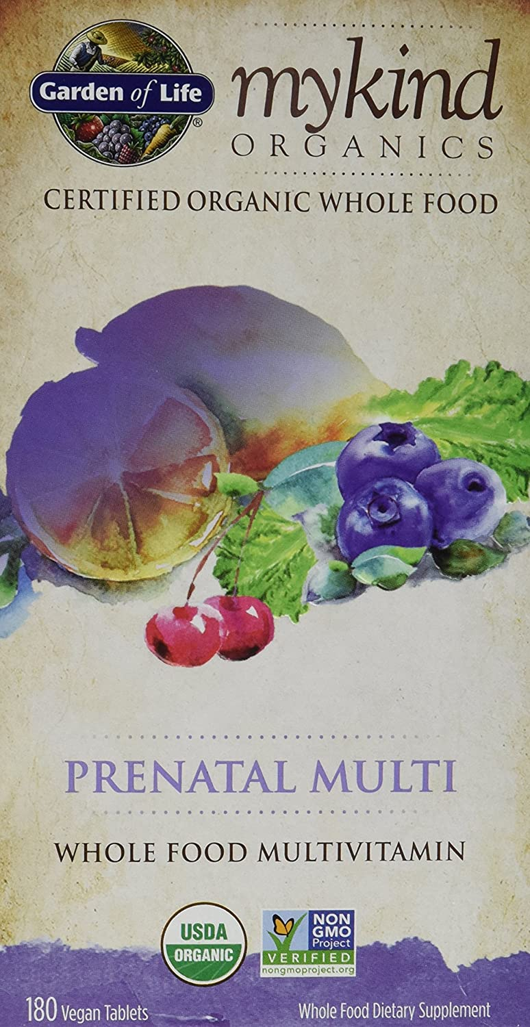 Garden of Life Kind Organics Prenatal Multivitamin, 2 packs of 180 Each