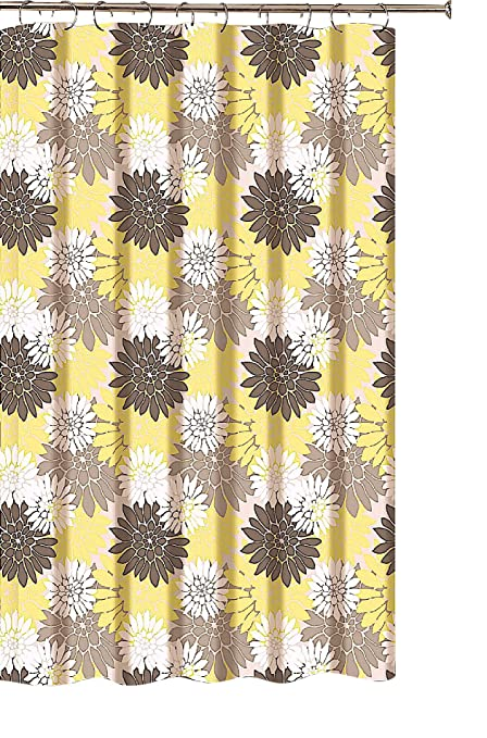 Decorative Floral Fabric Shower Curtain Brown Taupe Yellow White Large Print Flowers
