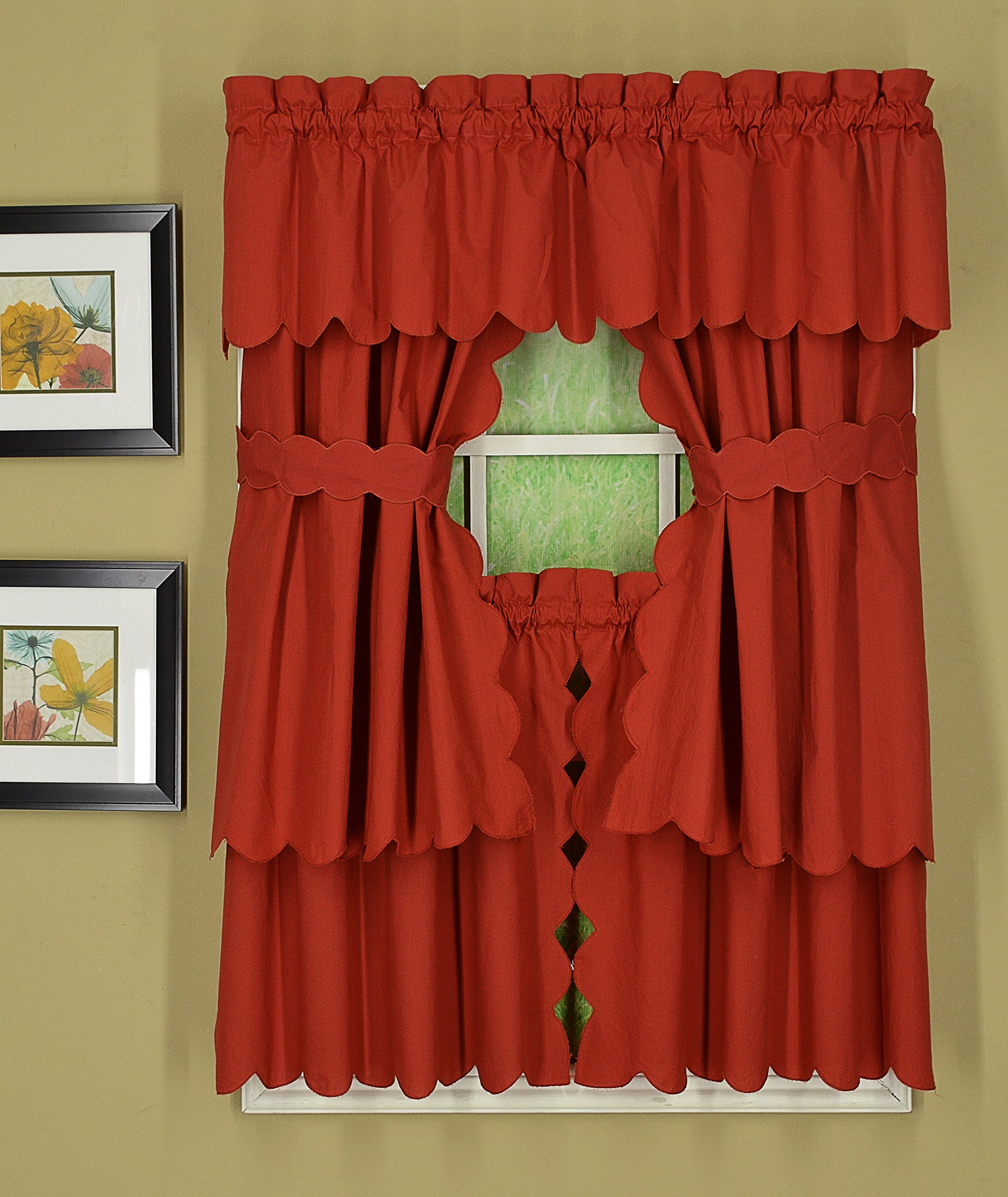 Today's Curtain CA2003K Orleans 36'' Tier Pair with Tiebacks Tambour Scallop Edge Curtain, Brick Red, 60'' W x 36'' L/TB