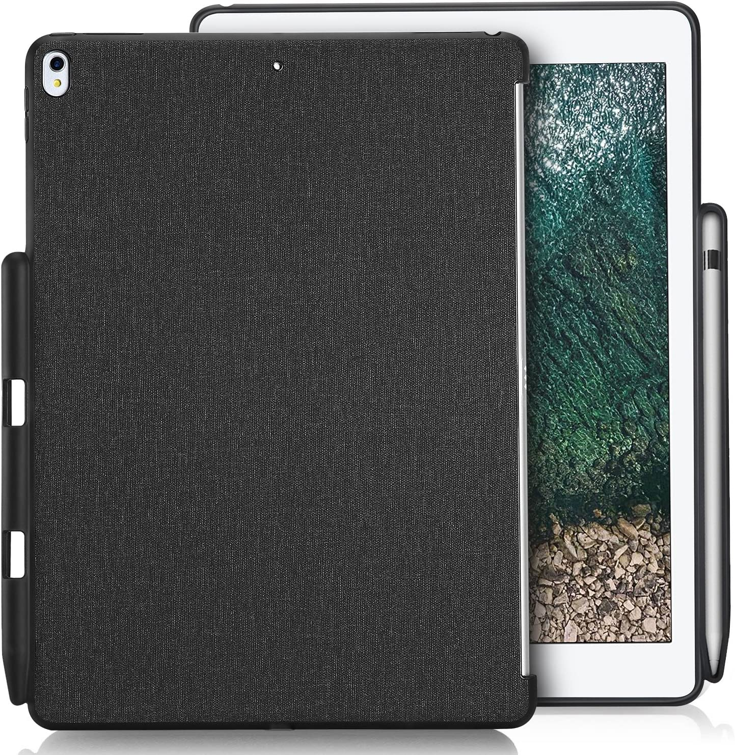 """ProCase iPad Air 10.5"""" (3rd Gen) 2019 / iPad Pro 10.5 2017 Case, Companion Back Cover with Apple Pencil Holder for 10.5"""" iPad Air/iPad Pro 10.5, Work with Apple Smart Keyboard and Smart Cover –Black"""