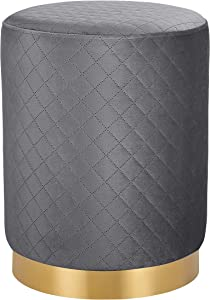 BIRDROCK HOME Round Grey Velvet Ottoman Foot Stool with Lattice Design – Soft Compact Padded Stool – Gold Trim - Great for The Living Room or Bedroom – Decorative Furniture – Foot Rest